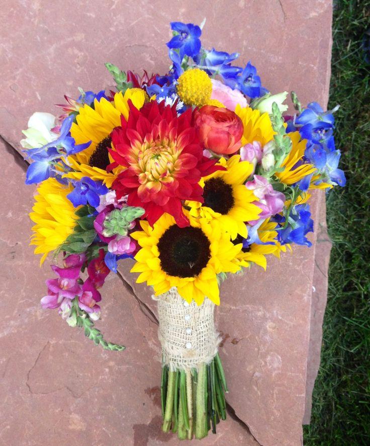 Sunflower Wedding Bouquet. Wildflower wedding bouquet. Durango Colorado wedding. Allyson Lee Floral Design in Durango, CO