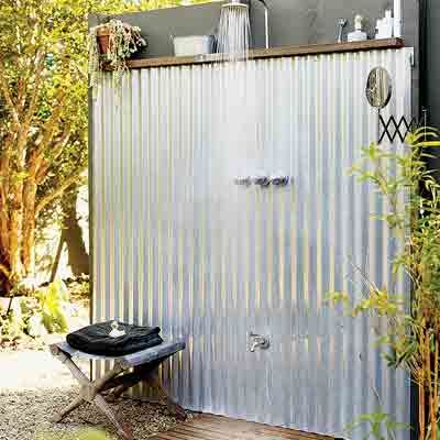 outdoor showerShower Ideas, Outside Shower, Outdoor Living, Backyards Makeovers, Corrugated Metals, Outdoor Showers, Corrugated Tin, Outdoor Bathroom, Outdoor Pools