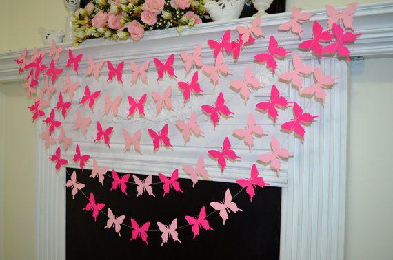 Guirnalda mariposas rosa banner de cumpleaños por DCBannerDesigns