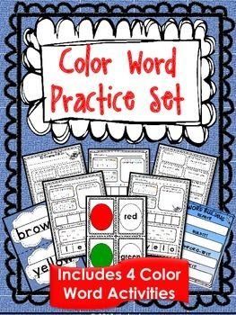 $4 Color Word Practice Set {4 Color Word Activities Included