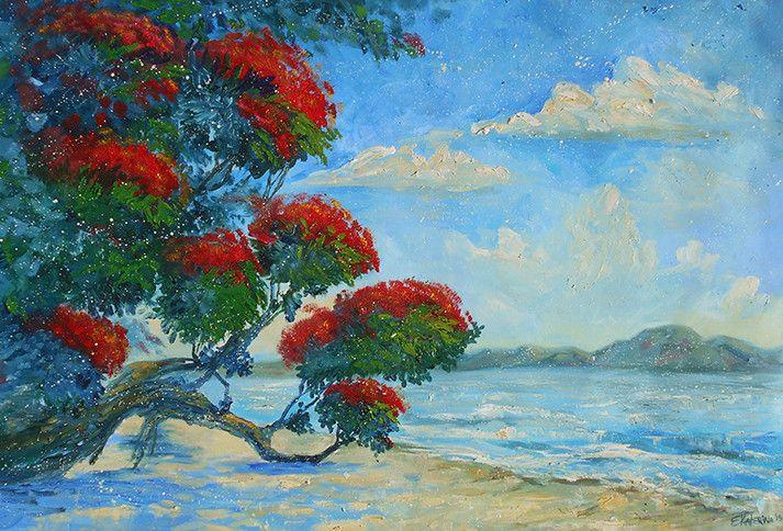 Crimson In Summer - Large Beach Painting