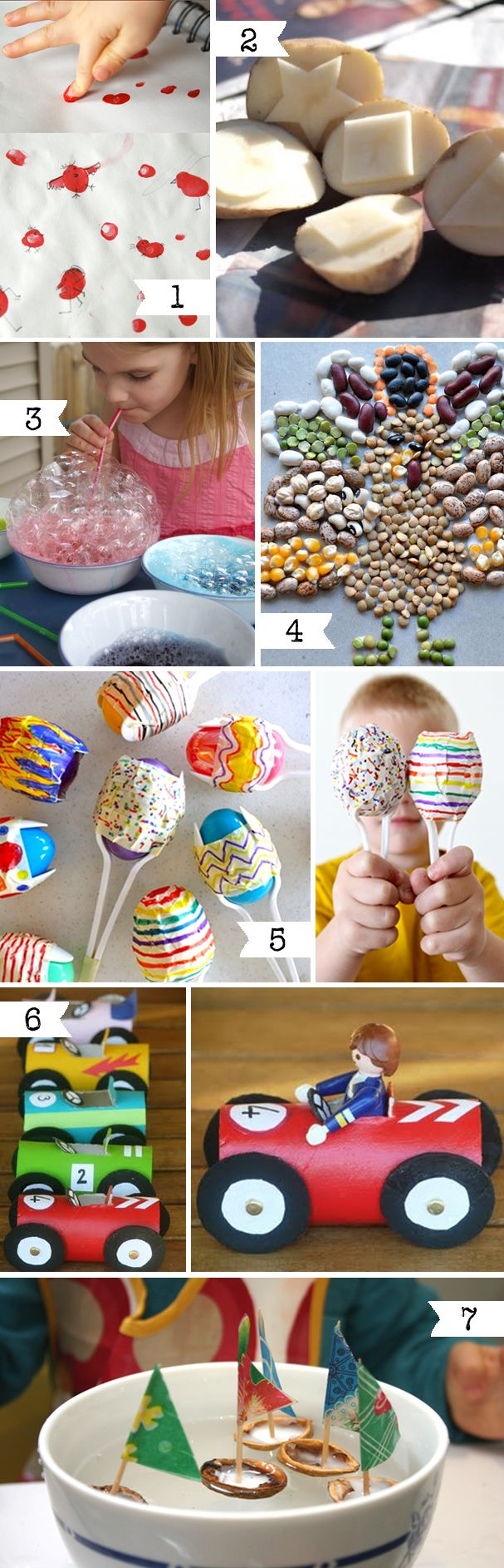 ideas for fingerprint animals, dried bean art, toilet paper roll cars and walnut shell boats (with wax inside and a toothpick for a mast) - in french