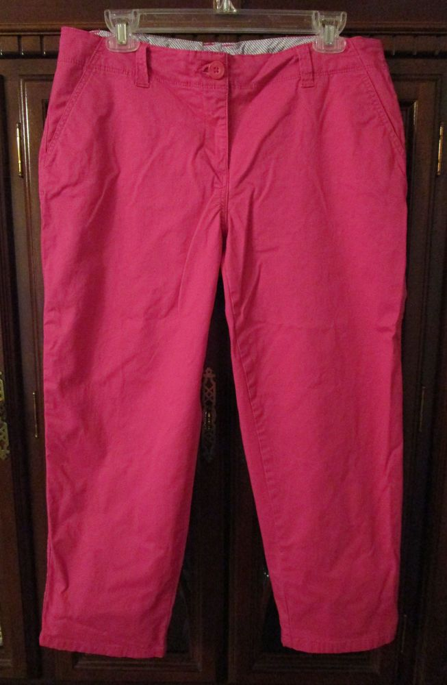 Womens Crown and Ivy Sz 10 Pink Capri Pants Khaki Stretch Pockets #CrownandIvy #CasualPants #Summer