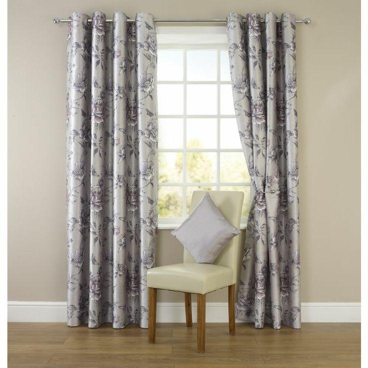 Wilko Faux Silk Eyelet Curtains Plum 167 X 137cm: Wilko Floral Eyelet Curtains Silver 167cm X 137cm