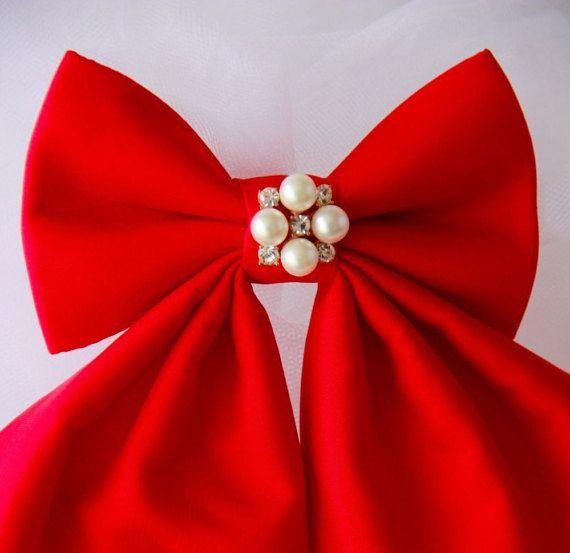 Red Cherry Matte Silk Women's Bow Bella Woman by VaniaSzaszBows