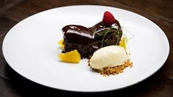 Chocolate Pistachio Brownie, Chocolate Mousse and Orange Ice Cream