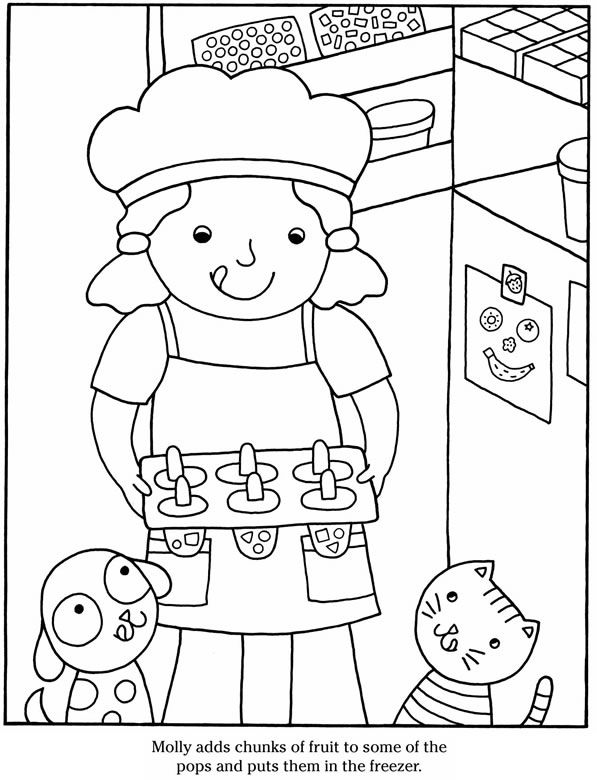printable coloring page cook and eat dover publications - Printable Popsicle Coloring Pages