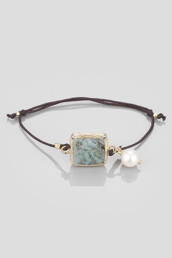 Turquoise Bracelet In Gold Coated Silver with a Small by toosis, $42.00