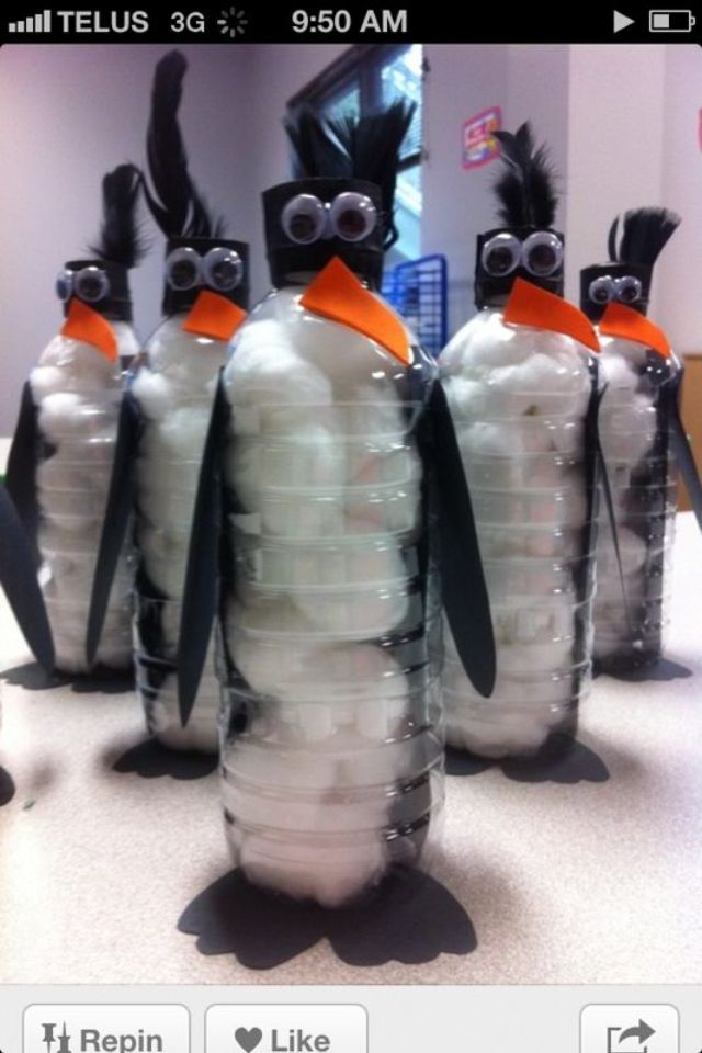 Penguin recycled bottle crafts