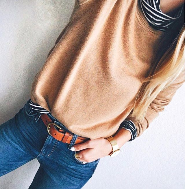 "All about camel & stripes!My sweater is on sale for $32 (such a classic wardrobe staple!) & my striped turtleneck is 40% off!! Jeans + belt also on sale, today only! Head over to LivvyLand.com (link in profile) for my full Cyber Monday roundup, + shop this look with @liketoknow.it (or click the ""LikeToKnow.It"" tab on my website to shop it from there!). http://liketk.it/2pIIQ #liketkit #ootd #jcrew #topshop #stripes #mylook #madewell #wtw #atx"