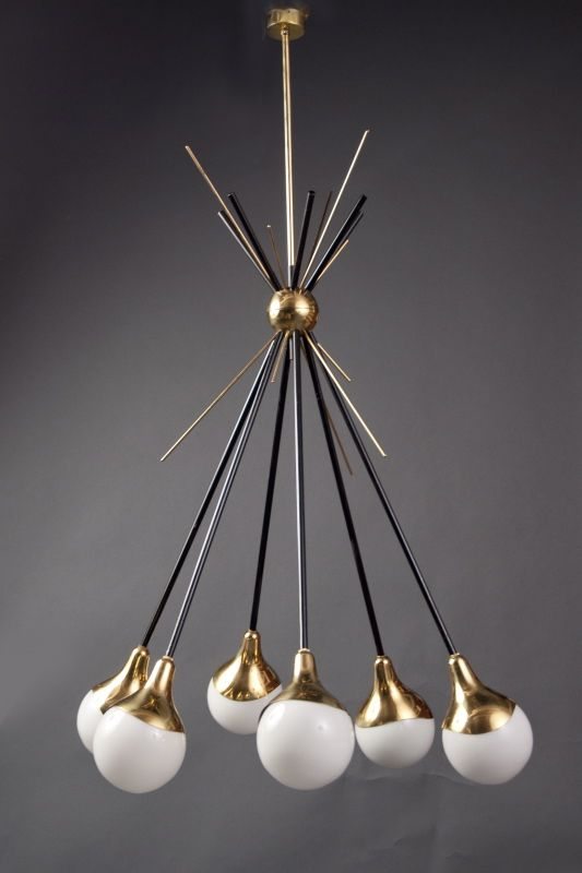 Six Light Chandelier Stilnovo Italy 1950s Black Painted Metal Structure With A Spherical