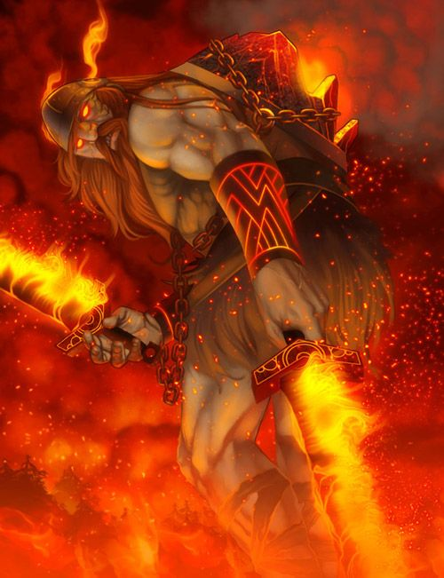Surt- Lord of the fire giants of Muspellheim  (destined to fight vs Freyr in the final battle)  His warriors take out the rainbow bridge when they arrive for the fight-sb