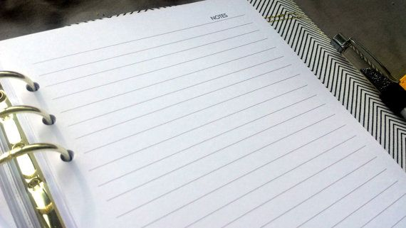 Printed A5 lined paper | note paper | punched A5 notepaper | for large Kikki K or Filofax refill | planner refill A5 planner