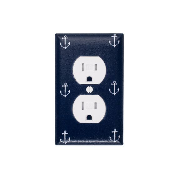Anchor OUTLET Cover / Nautical Kids Room / Baby Boy / Bathroom / Out to Sea Navy by Michael Miller