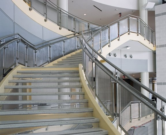 Infill Panels And Risers Get A Punch Of Style From McNICHOLS® Perforated  Metal. | McNICHOLS® Perforated Metal | Pinterest | Perforated Metal