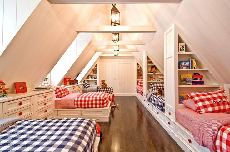 Cottage Kids Bedroom with flush light, Harvard 300 thread count 3-piece print duvet cover set, Built-in bookshelf, Paint 1