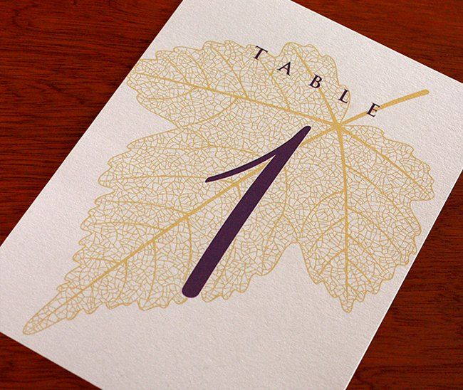 Elegant leaf table number card for a fall wedding by http://invitationsbyajalon.com on http://WedOverHeels.com