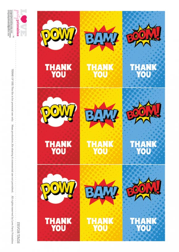 Superhero Party Free Printable   Thanks You Cards | CatchMyParty.com