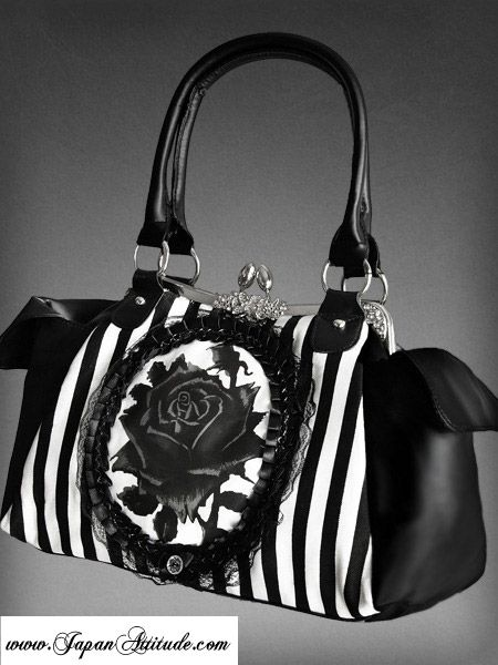 Sac neo victorien noire a rayures blanches ...