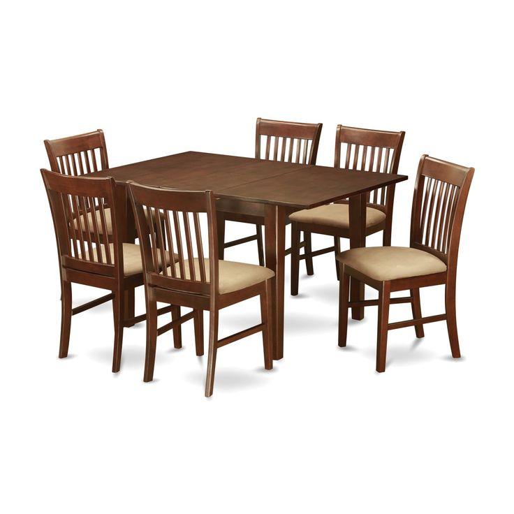 PSNO7 MAH 7 Piece Rubberwood Mahogany Kitchen Dinette Set Wood Seat Clear Size Sets
