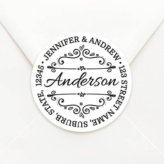 Personalised Circle Return Address Sticker Labels - Envelope Seals -  Choice of Kraft or Matte White Sticker Material