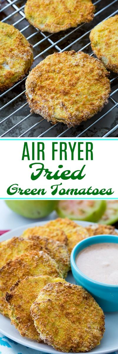 Air Fryer Fried Green Tomatoes are so crispy and you need almost no oil. #southernfood #greentomatoes #airfryer