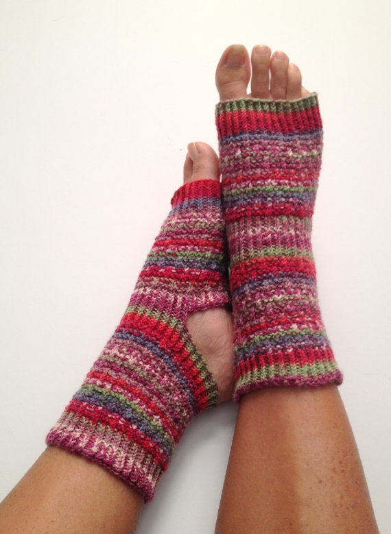 Yoga Socks in Berry Bliss Handknit Pedicure by MadebyMegShop, $30.00