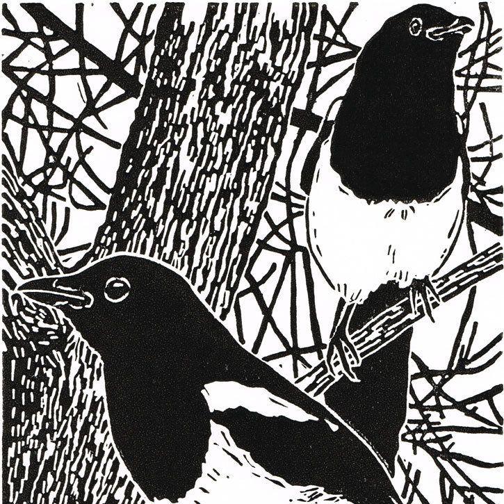 Country Living / Little Ram Studio / Magpies - 'In the old Elm tree' - Original Linocut Print