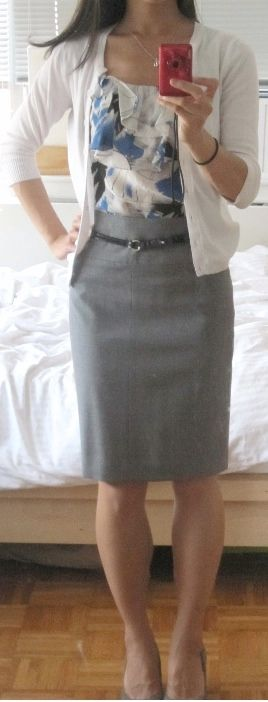 outfit post: grey pencil skirt, blue pattern tie-neck blouse, white cardigan, black pumps | Outfit Posts