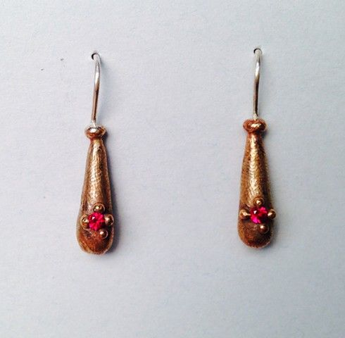 Bronze Droplets with Red Stones/ Stacey Lane