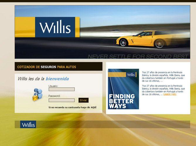 Cliente: Willis Agente de Seguros y de Fianzas, SA de CV  Portal intranet para cotizar seguros de autos. Tecnología: HTML-CSS, PHP-MySQL (desarrollo a la medida).