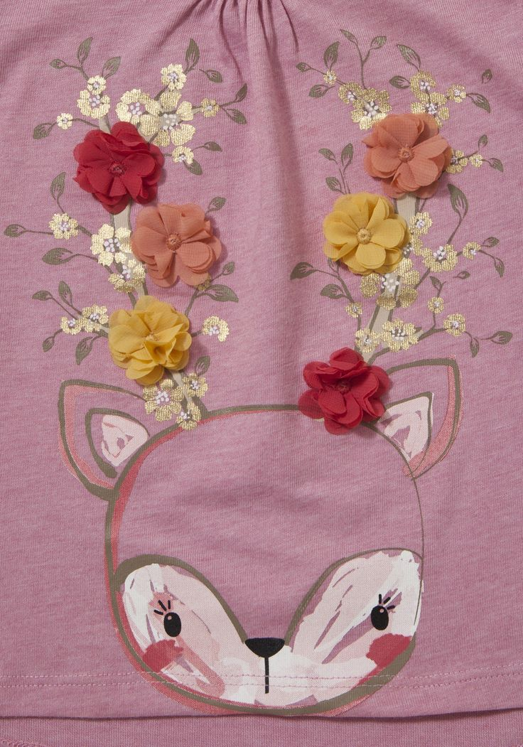 Clothing at Tesco | F&F Deer Corsage Long Sleeve T-Shirt > tops > Newborn > Baby