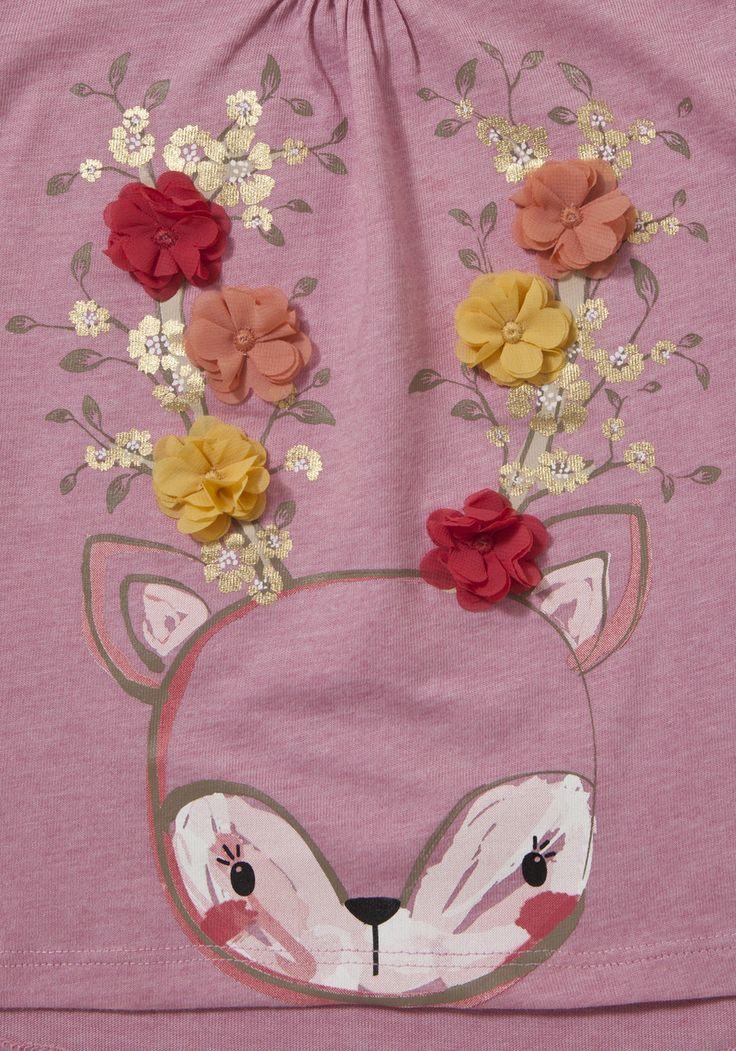Clothing at Tesco | F&F Deer Corsage Long Sleeve T-Shirt > tops >…