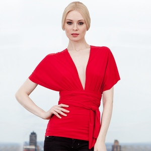 Transformer Wrap Top Red