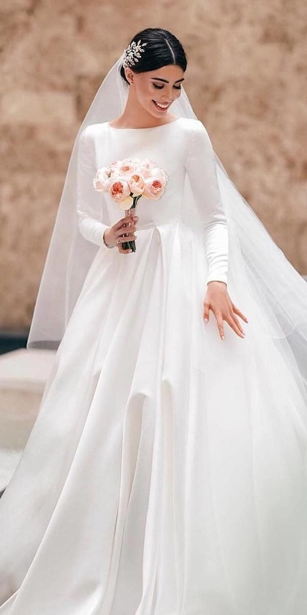 30 Simple Wedding Dresses For Elegant Brides Wedding Forward Online Wedding Dress Simple Wedding Dress With Sleeves High Neck Wedding Dress