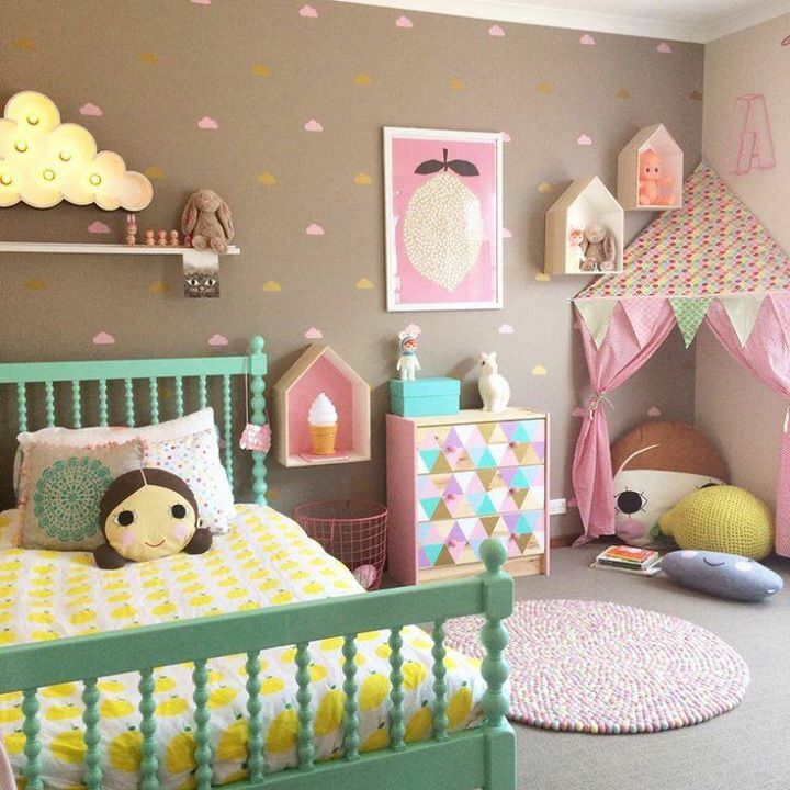 Taupe pink clouds girls bedroom