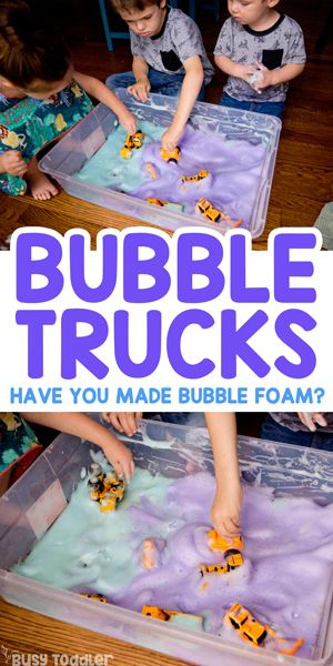 Bubble Trucks Sensory Bin with Soap Foam