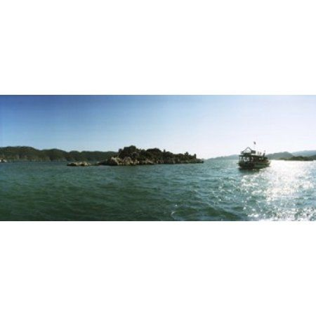 Rocky island and boat in the Mediterranean sea Sunken City Kekova Antalya Province Turkey Canvas Art - Panoramic Images (15 x 6)
