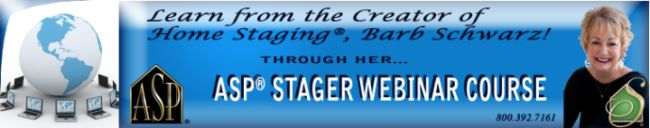 Home Staging Training 3 Day Webinar  through www.StagedHomes.com