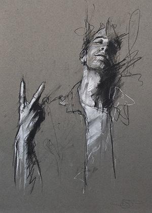 """the Royal Wedding (portrait of Luke Denning)""  conte and chalk on pastel, 27 x 37 cm, 2011"