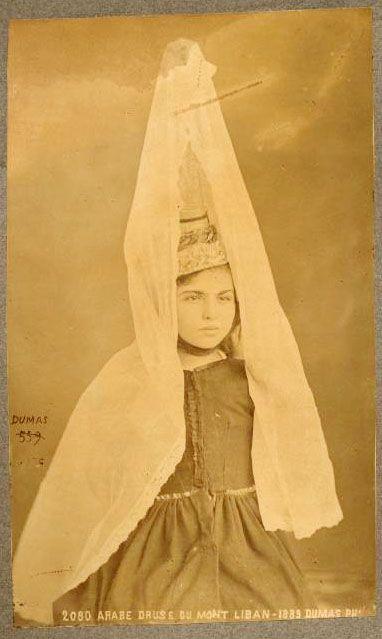 Druze girl wearing the tantour [1889] | Copyright Dumas