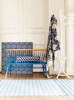 ercol Love Seat - half ercol blue. July 2012 Home Beutiful Magazine Australia.