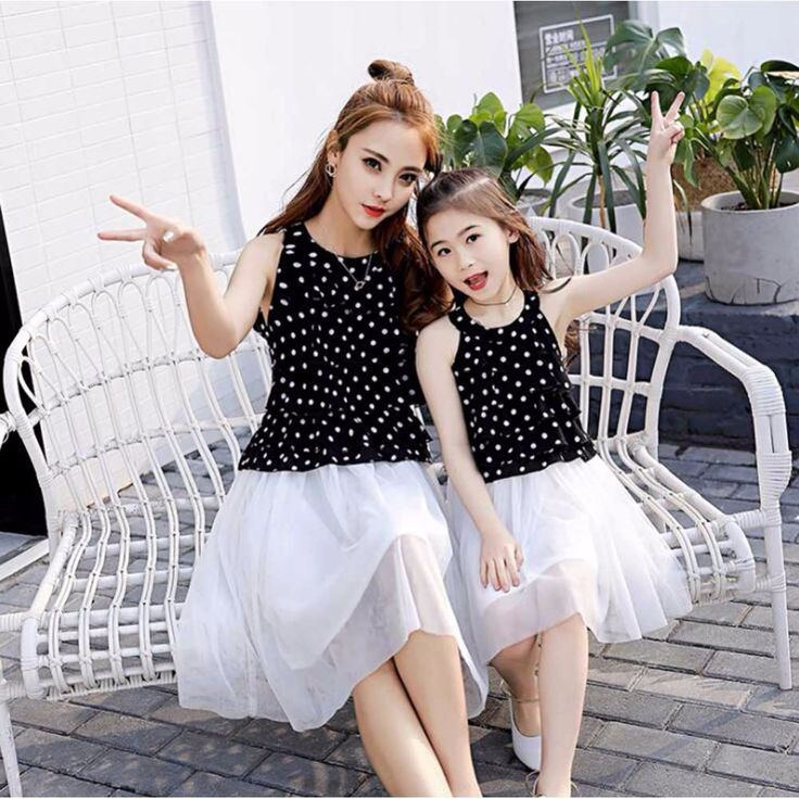 Mom and Daughter Dress Matching Clothes 2017 Black White Dress for Kids and Women Summer Family Outfits Mother Daughter Dresses  #Affiliate