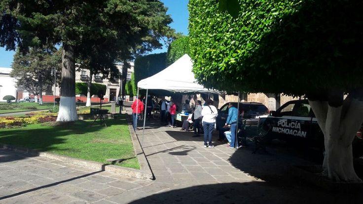 En protesta por la falta de pagos en la UMSNH, se instalaron en el Jardín de Villalongín para hacer labor social a favor de los transeúntes que por ahí pasaban ...