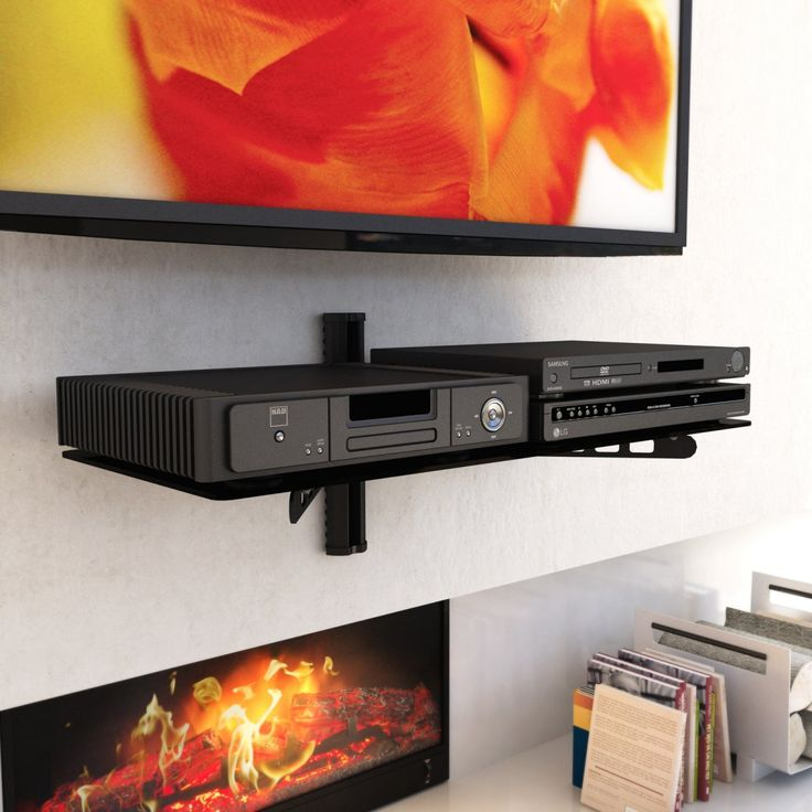 wide component wall shelf midnight black tv wall mounts at hayneedle