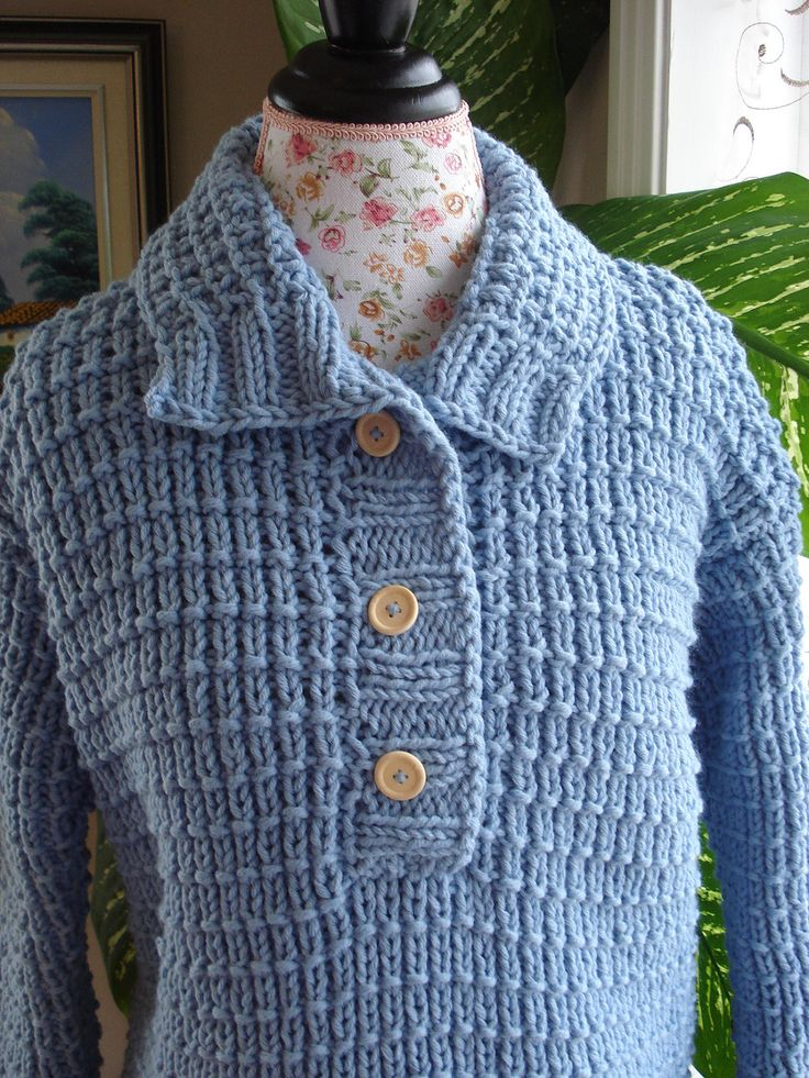 Handmade knitted with 50/50 Cotton/Wool Icy Blue Aran Sweater/ Iceberg - Free Shipping - Ready to ship TODAY by ufer on Etsy