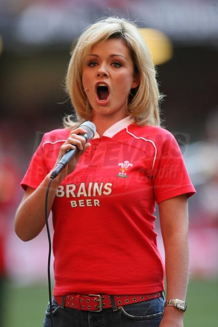 Katherine Jenkins singing the Welsh National Anthem before a Wales-Australia International Rugby Match.