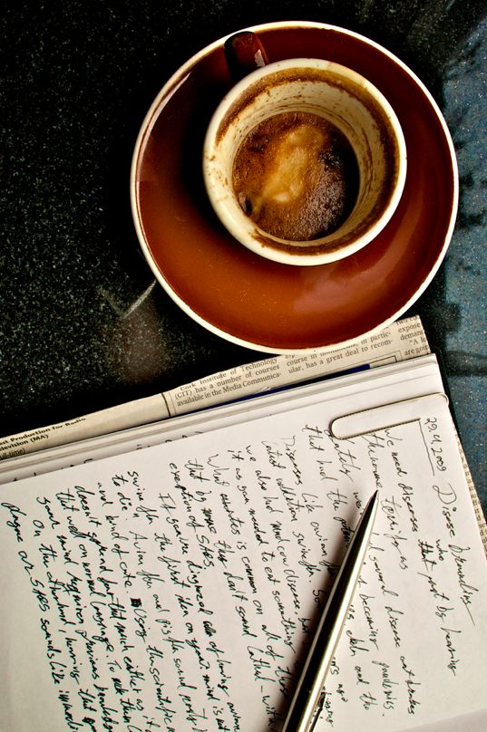 Good picture. Well arranged. Complete with coffee and handwriting that looks oddly like mine.