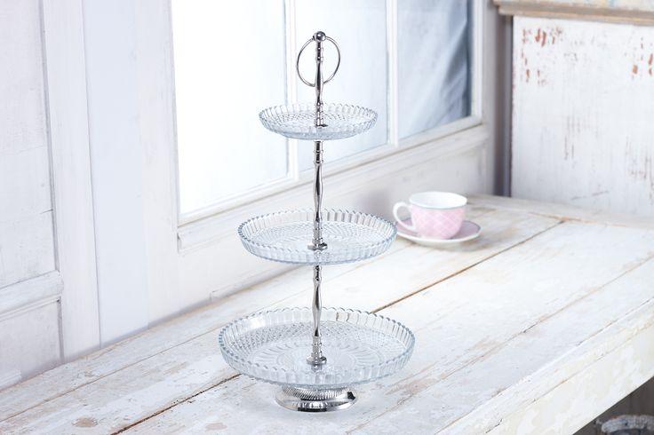 デンマーク/リスベスダール/ガラス製3レイヤー ケーキスタンド [CS10006] 46cmH/ 24cmD
