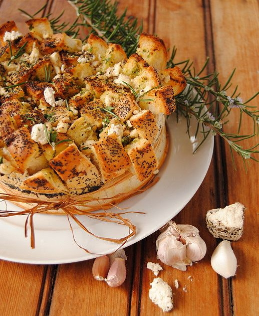 Double-Craggy Garlic Bread with Herbs, Lemon and Peppered Cream Cheese